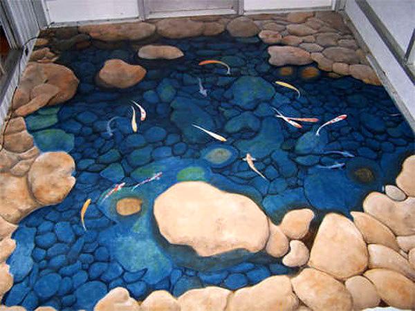 Наливной пол в дизайне ванной