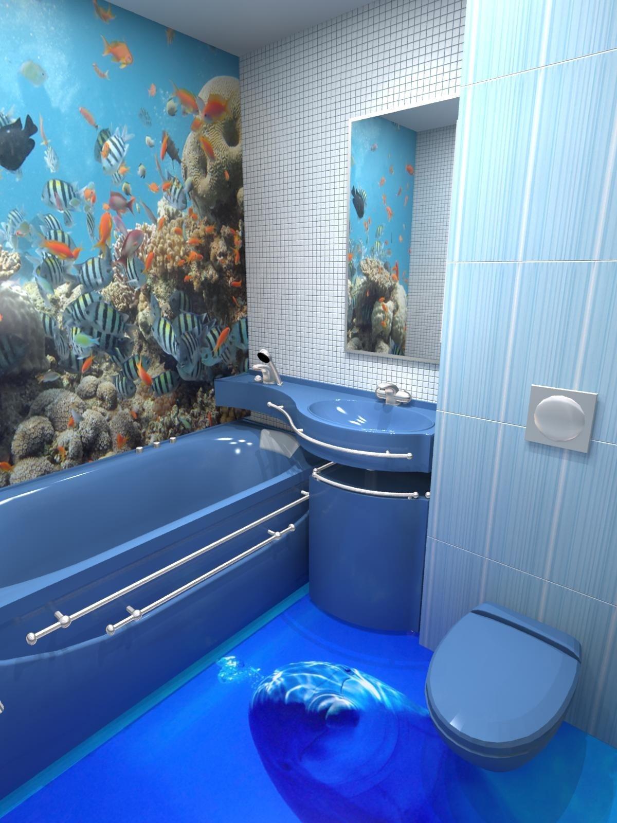 Небольшоя ванная комната в синих тонах