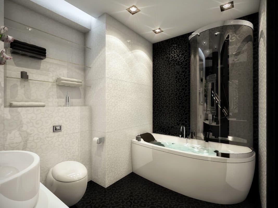 Обустройство небольшой ванной комнаты в черно-белых тонах