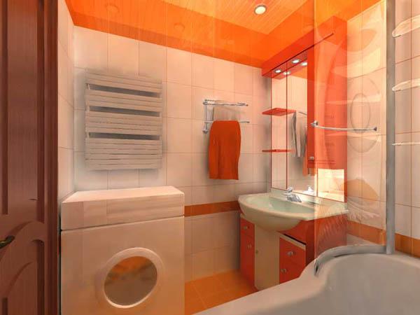 Оранжево белая ванна 4 кв м