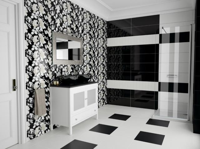 Оригинальное оформление черно белой ванной комнаты