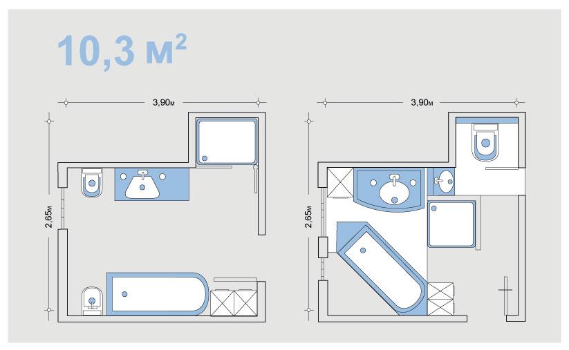 Планировка ванной 10,3 кв м