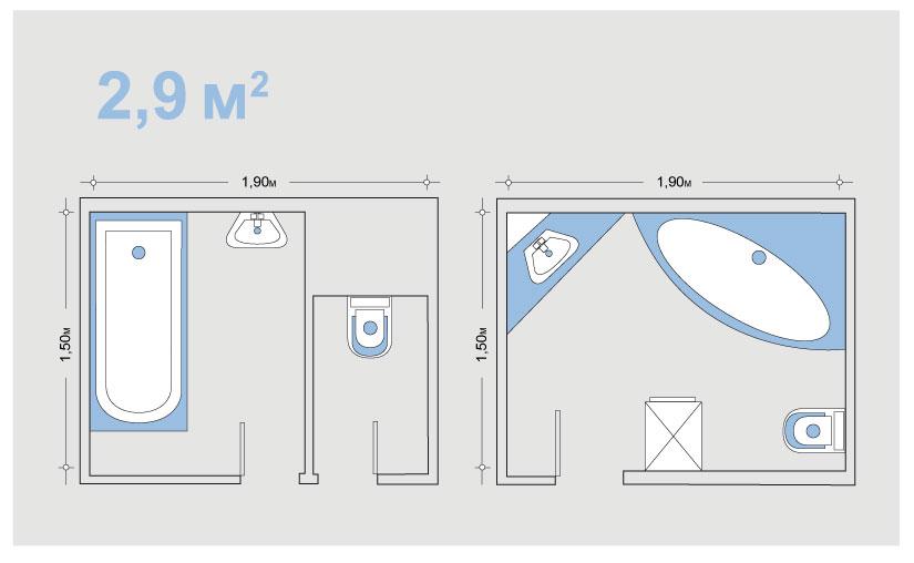 Планировка ванной 2,9 кв м