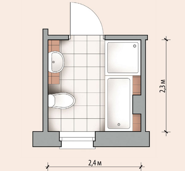 Планировка ванной 5,52 кв м