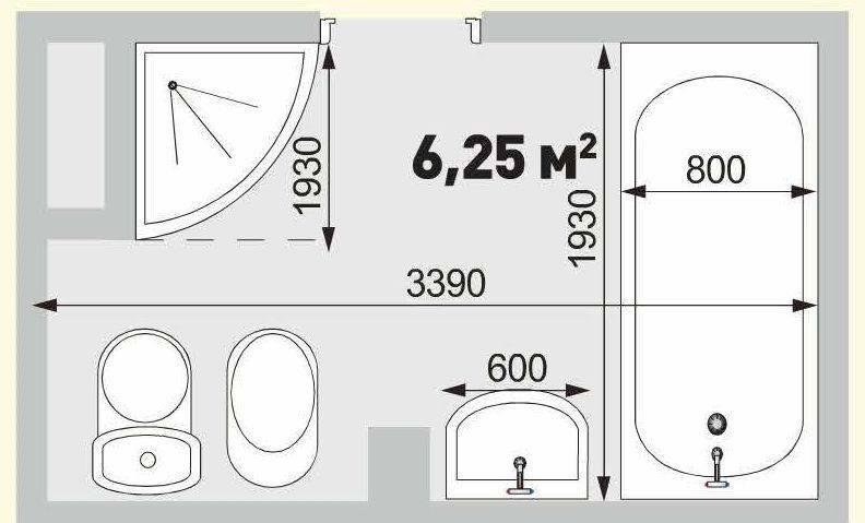 Планировка ванной 6,25 кв м