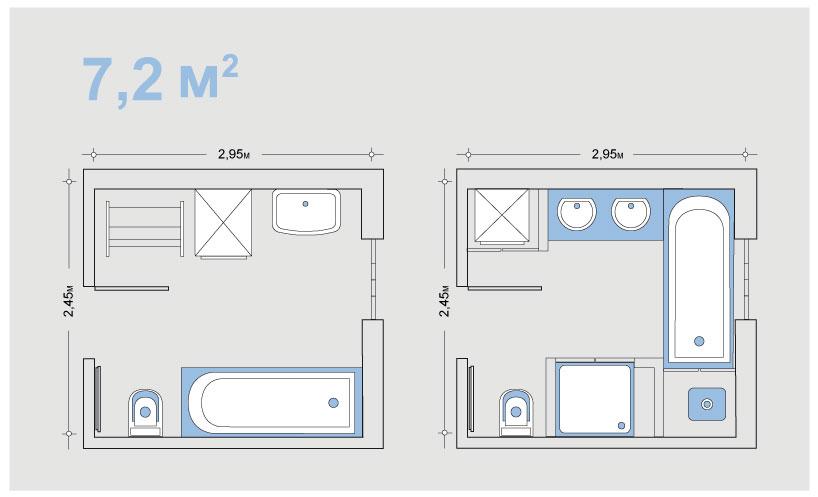 Планировка ванной 7,2 кв м