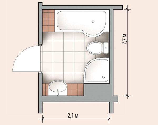 Ванная комната 4,8 кв м