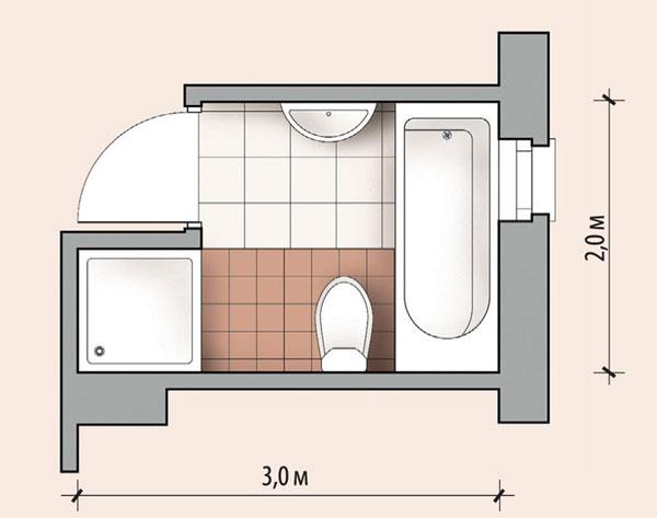 Ванная комната 5,2 кв м