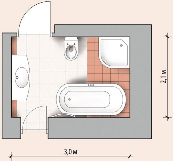 Ванная комната 6,3 кв м