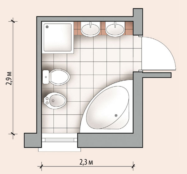 Ванная комната 6,7 кв м