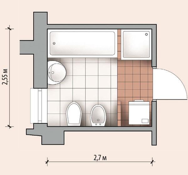 Ванная комната 6,9 кв м