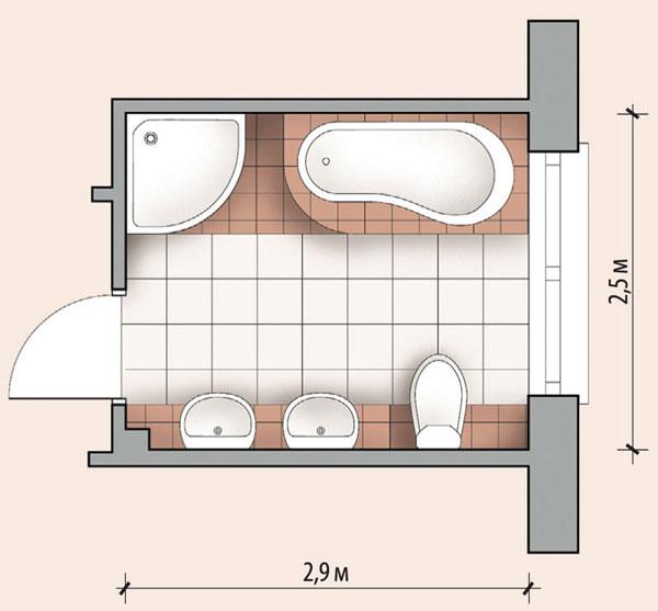 Ванная комната 7,2 кв м