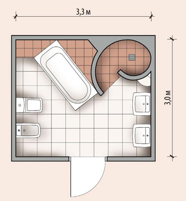 Ванная комната 9, 9 кв м