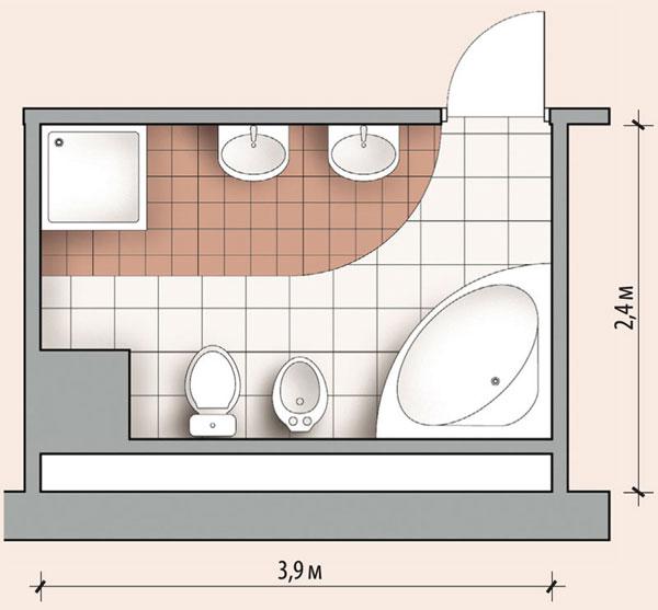 Пример планировки ванной