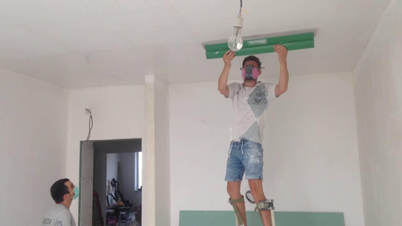 Шпаклюем потолок краскопультом