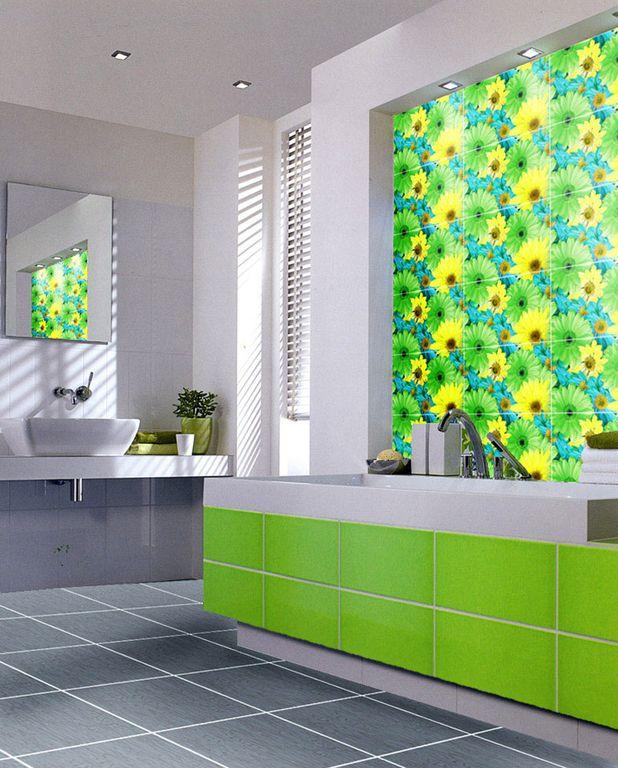 Сочетание нескольких водов плитки в оформлении ванной