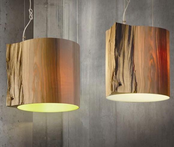 Светильник с плафонами из бамбука