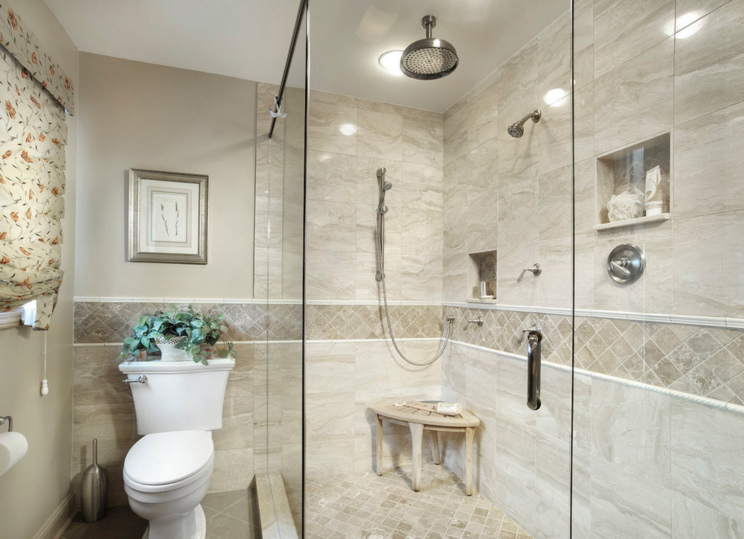 Светлое оформление ванной с душевой