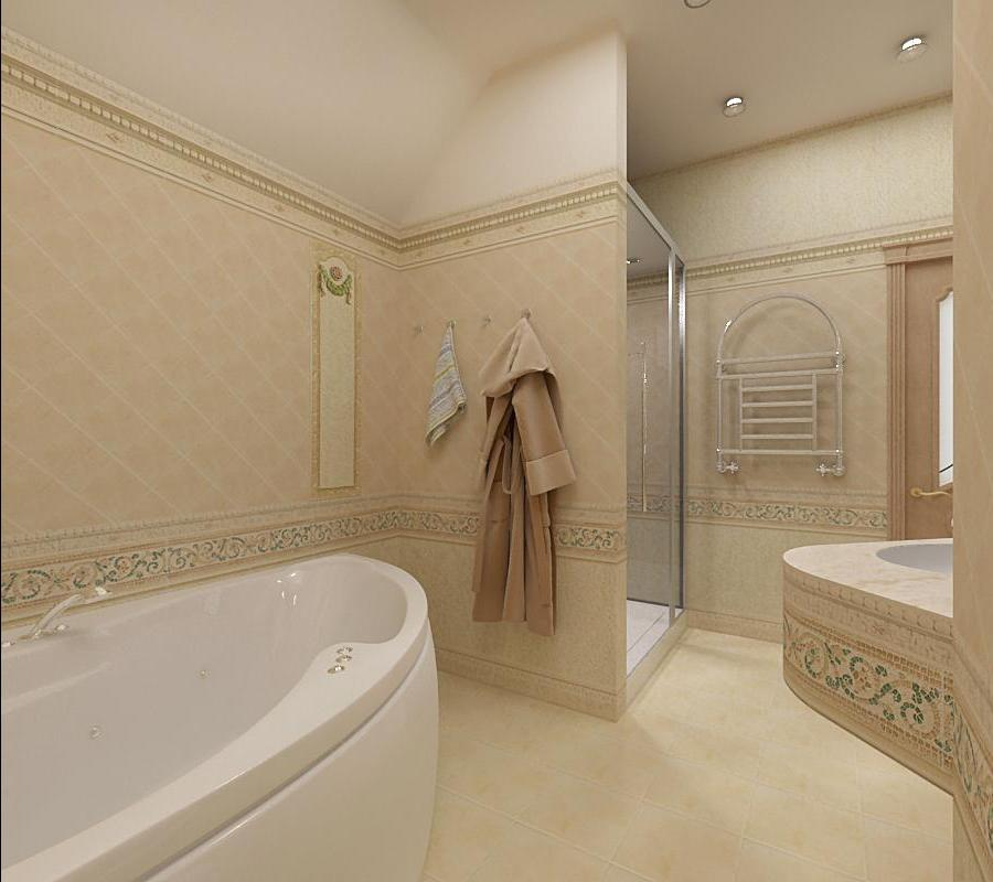 Светлый дизайн ванной с душевой