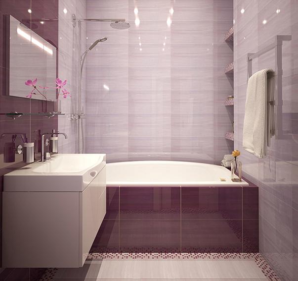 Ванная комната в сиреневых тонах