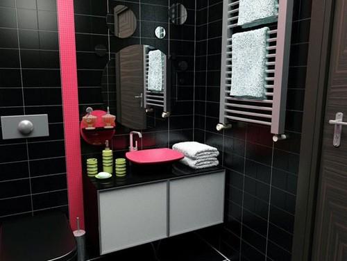 Вкрапления розового цвета в черно белый дизайн ванной