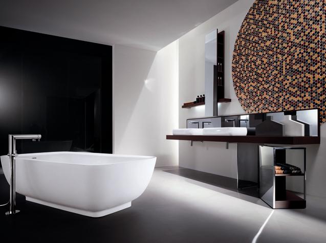 черно белая ванная в стиле хай тек