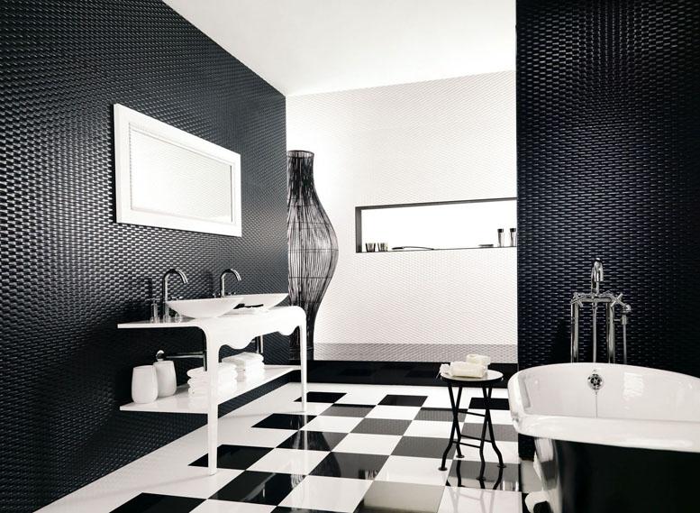 черно белый шахматный пол в ванной