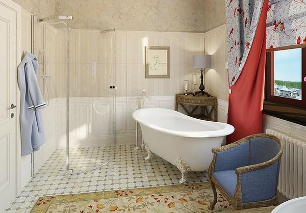 Душевая кабина в ванной стиля прованс