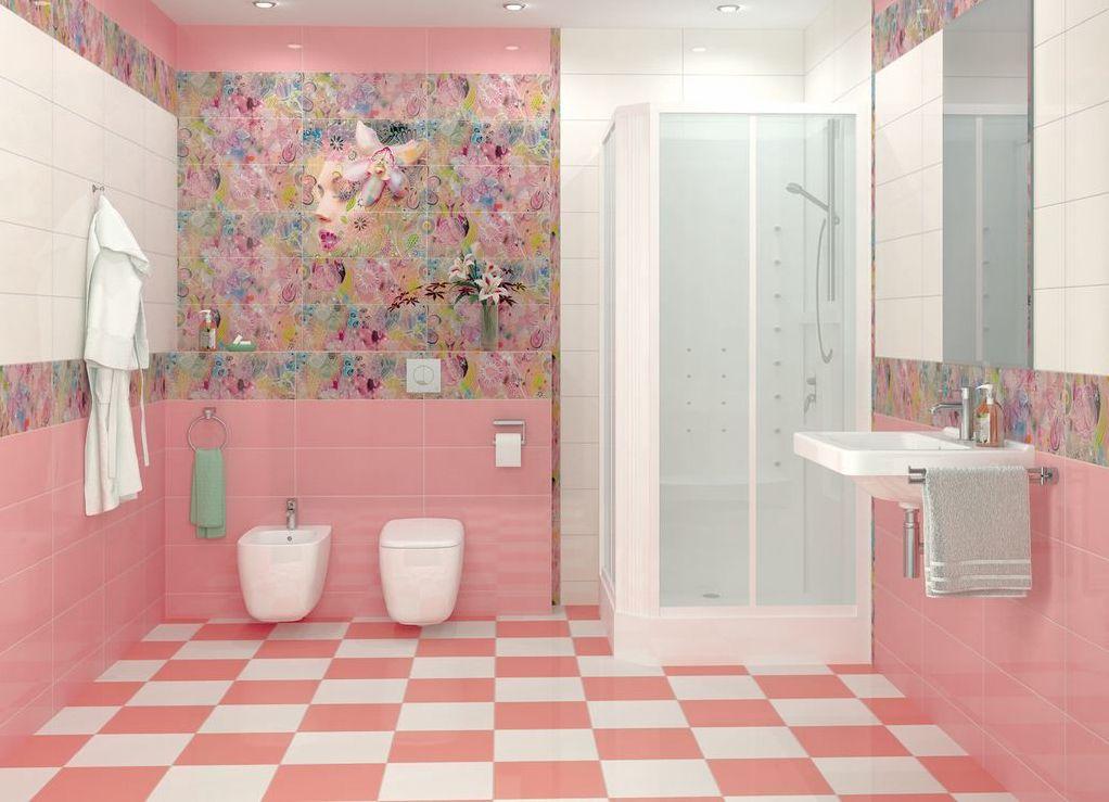 Бело розовая плитка в ванной комнате