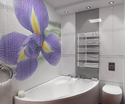 Бело-серая ванная с ярким мозаичным акцентом