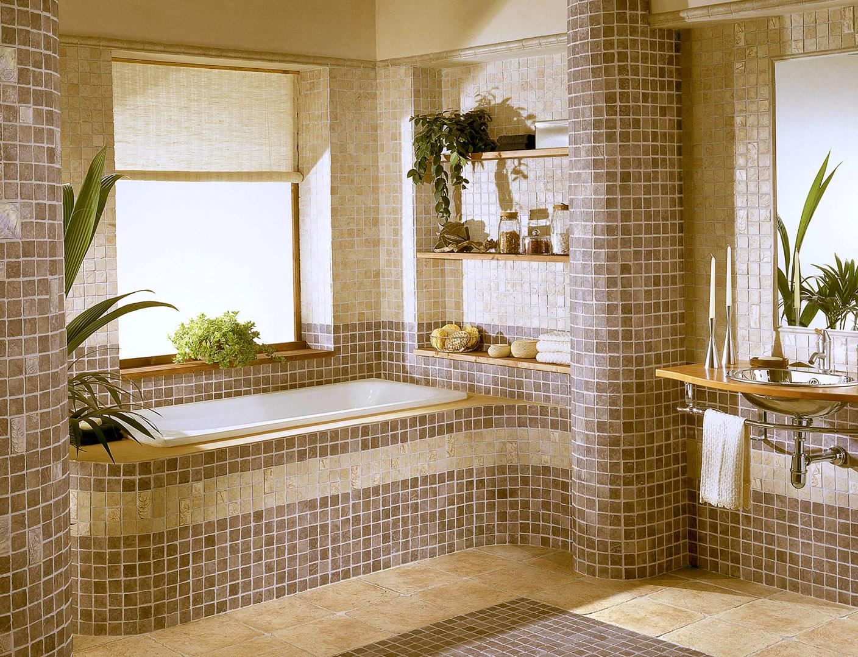 Бежевая мозаика в ванной