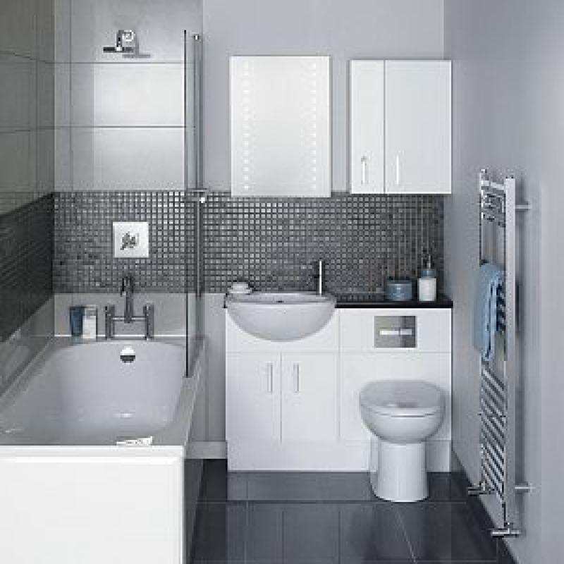 Черно белый дизайн ванной комнаты совмещенной с туалетом