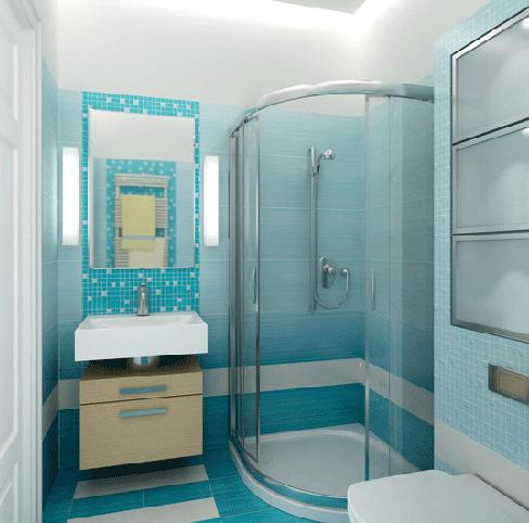 Дизайн ванной комната в голубых тонах