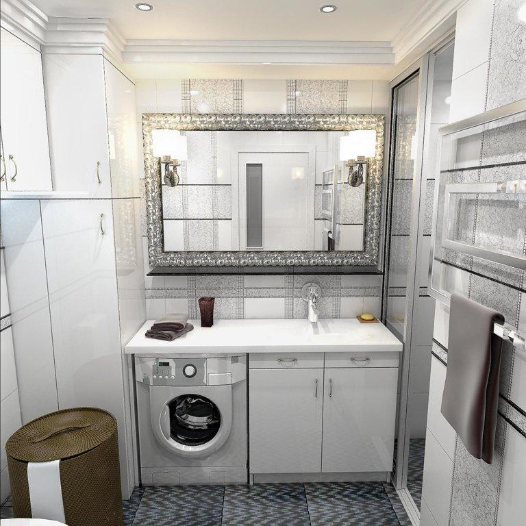 Интерьер ванной комнаты с зекарлом в севтлых тонах