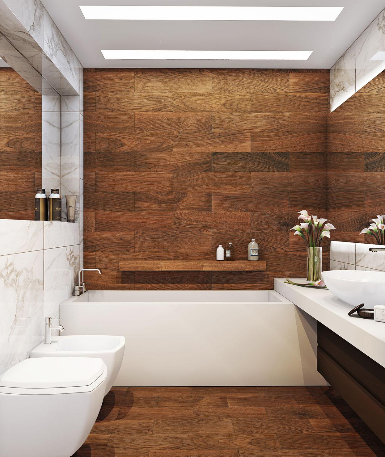 Керамическая плитка под дерево в интерьере ванной