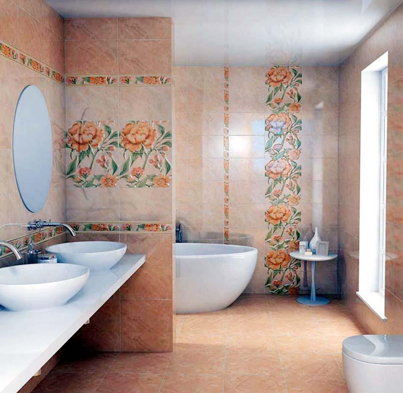 Керамическая плитка в интерьере ванной комнаты