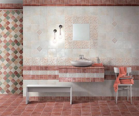 Красная плитка для ванной в стиле прованс