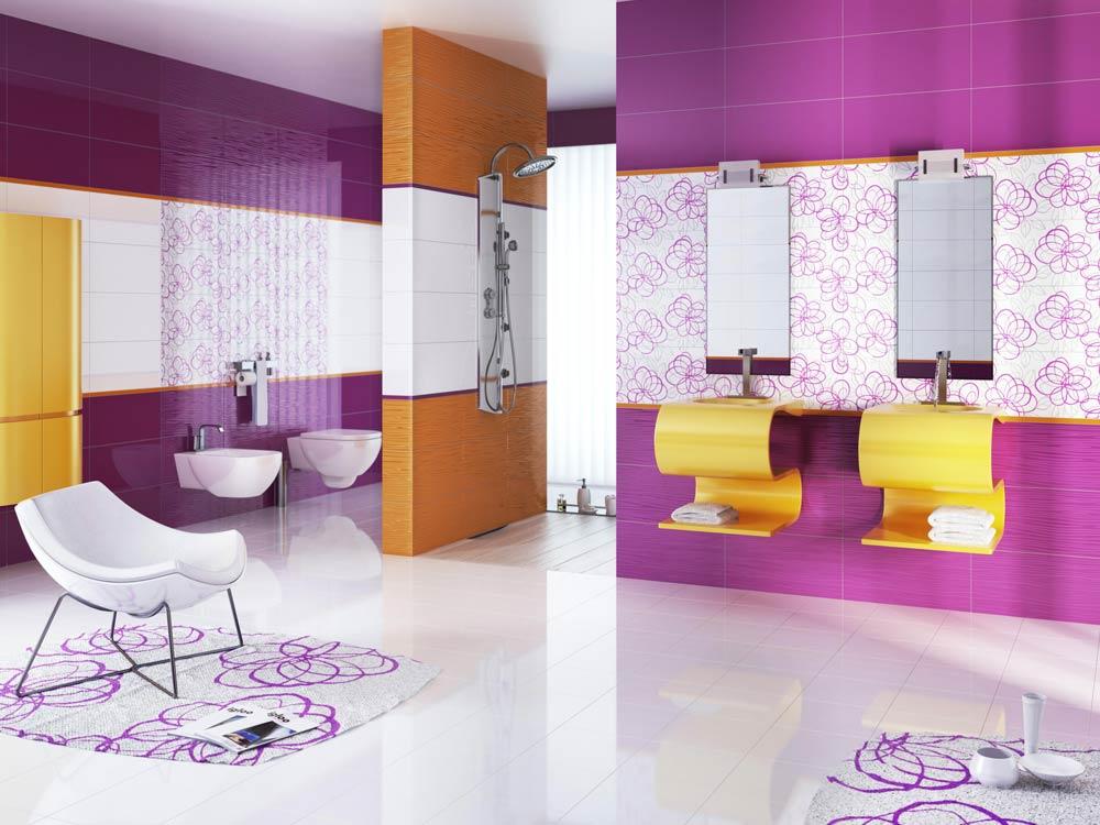 Необычное сочетание плитки в ванной