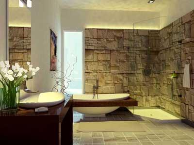 Отделка стен диким камнем