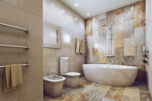 Плитка имитирующая камень в ванной комнате