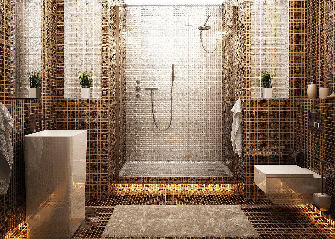 Применение мозаики в интерьере ванной