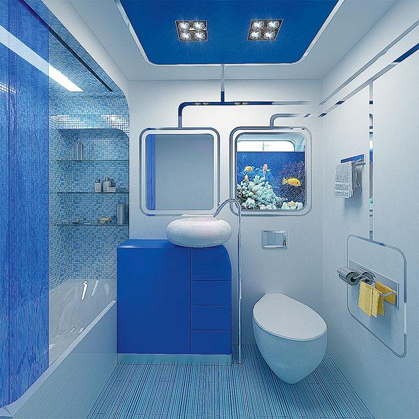 Синее оформление ванной комнаты в хрущевке