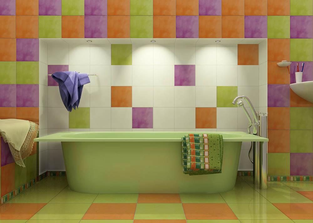 Сочетание нескольких цветов плитки