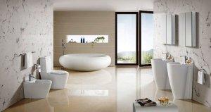 Интерьер совмещенной ванны с туалетом в комнате
