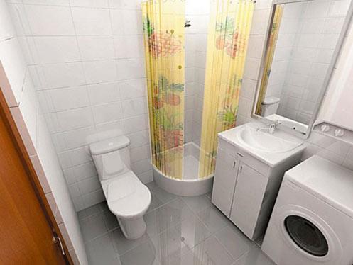 Стиральная машина в ванной комнате в хрущевке