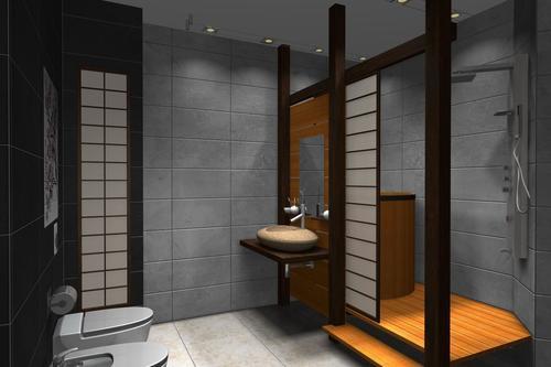 Темное оформление ванной комнаты