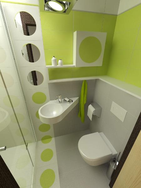 Угловая раковина и подвесной унитаз в небольшой ванной комнате