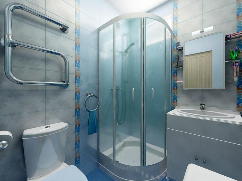 Ванная комната дизайн в хрущевке с душевой