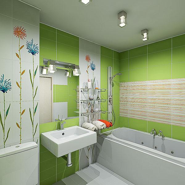 Ванная комната в хрущевке в зеленых тонах