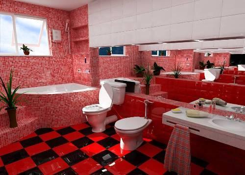 Интерьер ванной комнаты в красном цвете